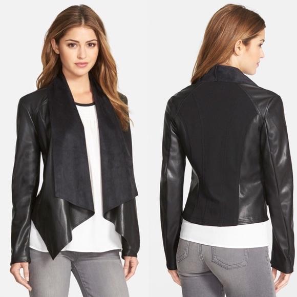 0331fa36c KUT From The Kloth Ana Faux Leather Drape Jacket S